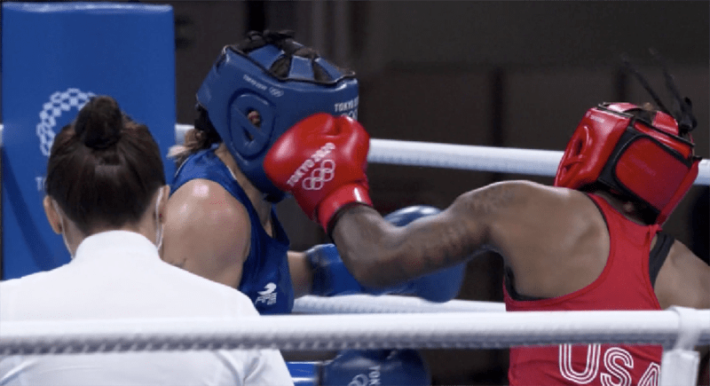Oshae Jones needs one more victory to make it to the gold medal final. Photo: NBC Sports Tokyo 2020
