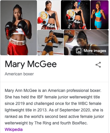 Mary McGee is a world class prizefighter.