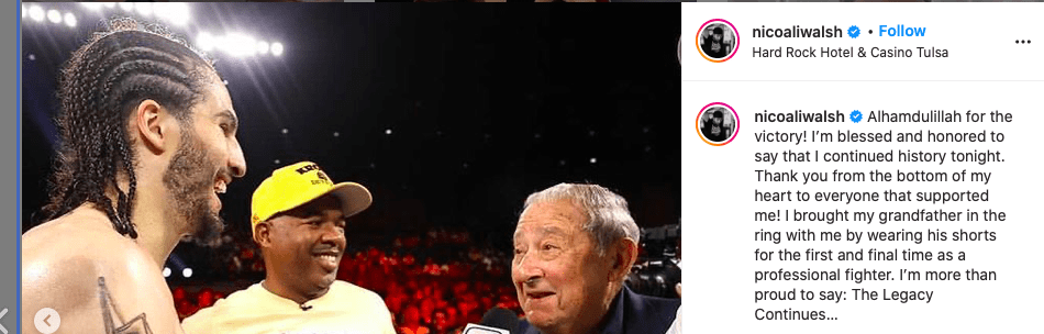 Nico Ali Walsh gets congratulated by Bob Arum after winning his pro boxing debut.