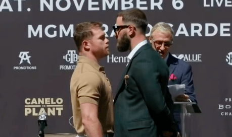 Canelo stares down Plant at press conference