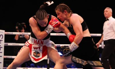 Katie Taylor (right) could have knockout out Jennifer Han if she had three minute rounds in Leeds Saturday. Photo: Matchroom Boxing