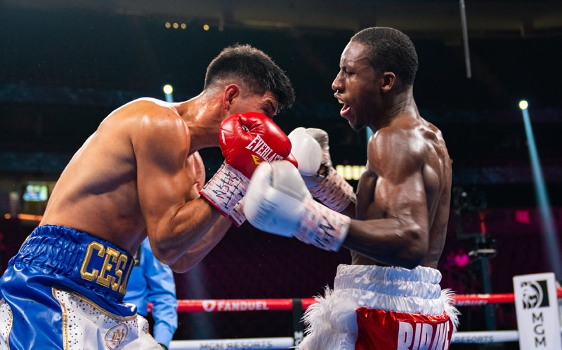 Bruce Carrington (right) scored an impressive professional debut victory. Photo: Ryan Hafey, Premier Boxing Champions