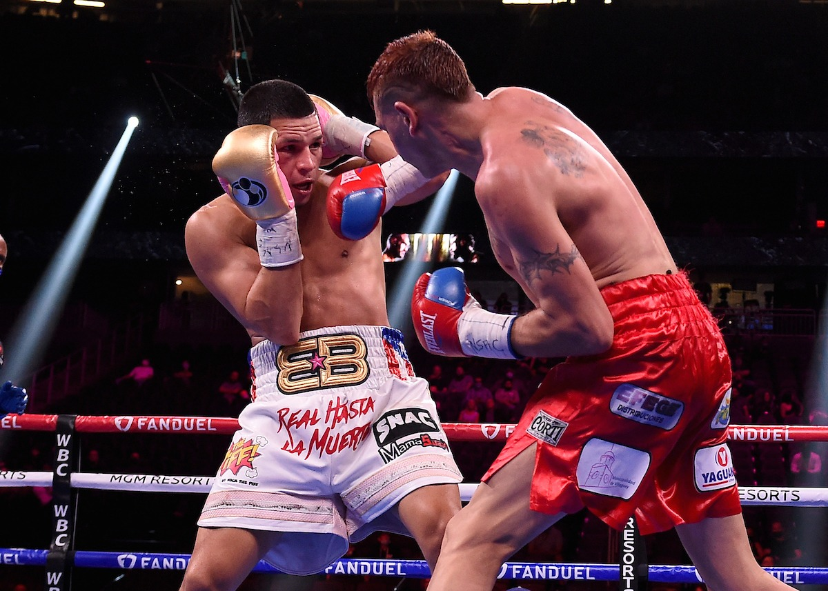 It was a rough night for Edgar Berlanga, who survived a knockdown to win his second fight by decision. Photo: Frank Micelotta, Fox Sports Edgar Berlanga survives