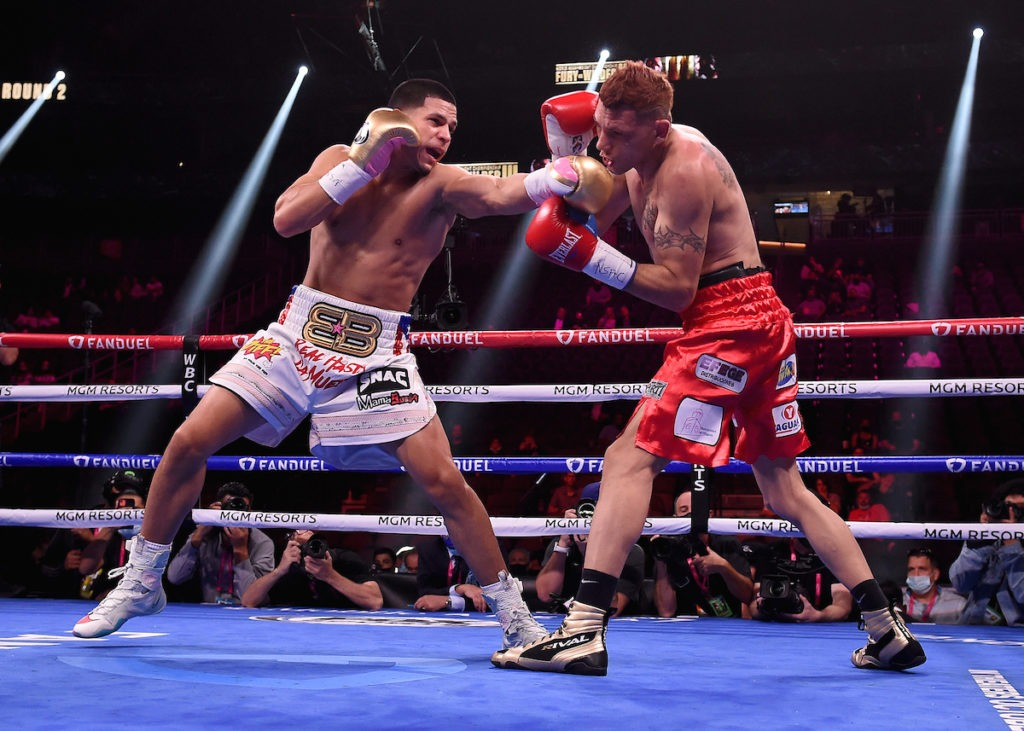 Edgar Berlanga landed good power shots on Marcelo Coceres but the Argentinean wasn't budging. Photo: Frank Micelotta/Fox Sports/PictureGroup Edgar Berlanga survives