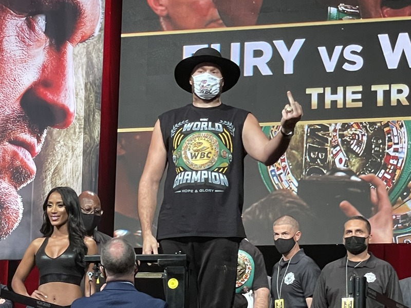 Tyson Fury showed his appreciation to vocal Bomb Squad fans at the weigh in. Photo: Gayle Falkenthal Fury Wilder 3