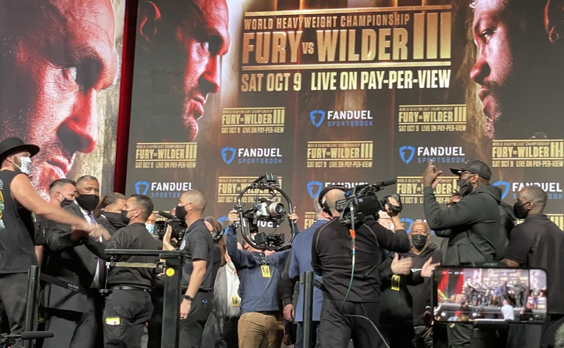 This is as close as Tyson Fury and Deontay Wiler got at Friday's weigh in. Photo: Gayle Falkenthal Fury Wilder 3