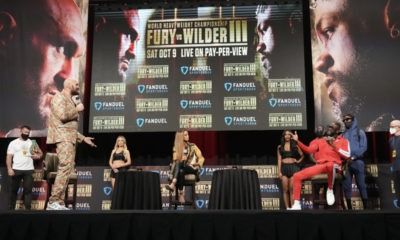 Tyson Fury and Deontay Wilder had plenty to say from a safe distance at their final pre-fight press conference Wednesday in Las Vegas. Photo: Sean Michael Ham, TGB Promotions