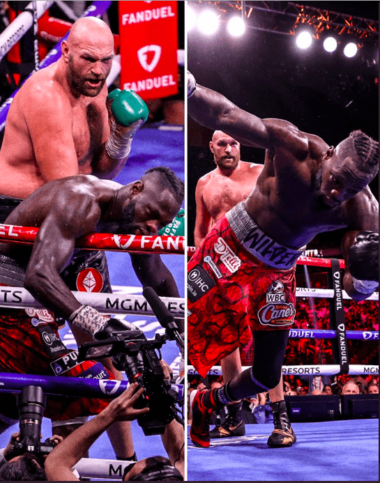 Tyson Fury punching Deontay Wilder to the canvas.