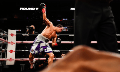 Cletus Seldin celebrates his knockout of William Silva on Oct. 16, 2021 at Barclays Center, on a Triller pro boxing promotion.